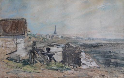Eugène BOUDIN - Dessin-Aquarelle - Village en Normandie