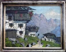 Jakob HECKER - Pintura - Farmhouses in the High Mountains