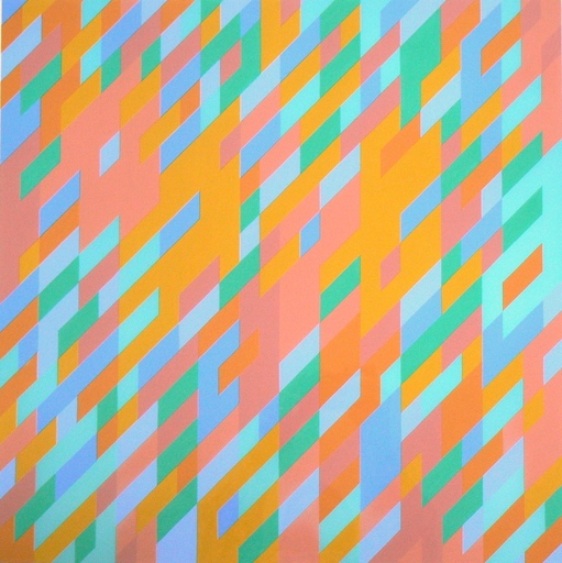 Bridget RILEY - Painting - 3rd Study for painting with blue and green passages