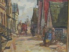 Hermann PREDIGER - Painting - Strasse in Finkenwerder