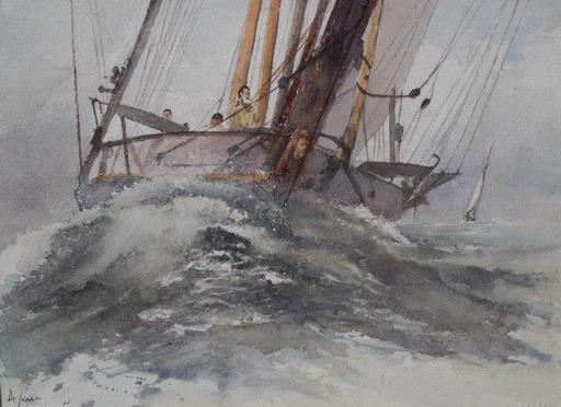 Jacques DI SARRO - Dibujo Acuarela - proue dans vague