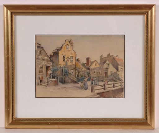 "Rudolf PICHLER - Drawing-Watercolor - ""Grinzing/Old Vienna"", 1923, Watercolor"