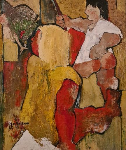 Michel DE GALLARD - Painting - Les enfants et lapoule
