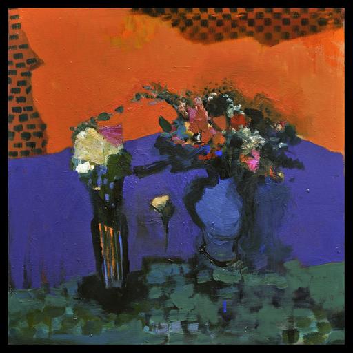 Jennifer HORNYAK - Pintura - Fleurs avec Violets et Petits Carreaux