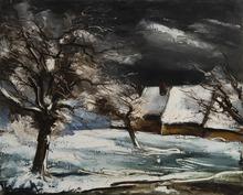 Maurice DE VLAMINCK - Pintura - La ferme enneigée