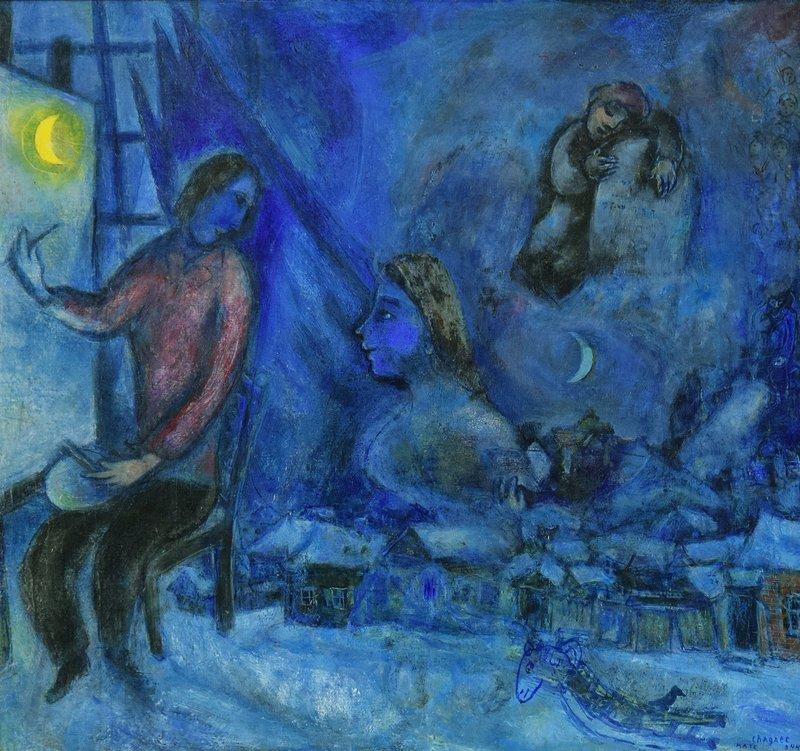 Marc CHAGALL - Peinture - Hommage au Passé ou la Ville