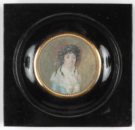 "Louis KETTERLIN - Drawing-Watercolor - ""Portrait of a Lady"" miniature on ivory"