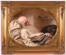 "Anton EINSLE - Painting - ""The Last Friend"", 1857, Oil on Canvas"