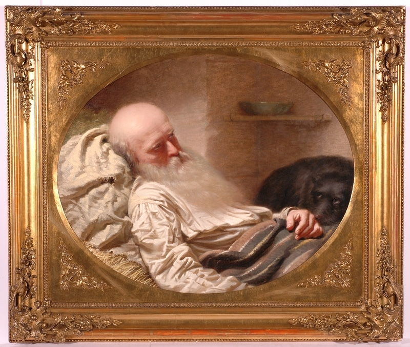 "Anton EINSLE - Painting - ""The Last Friend"", 1857, Oil on Canvas"