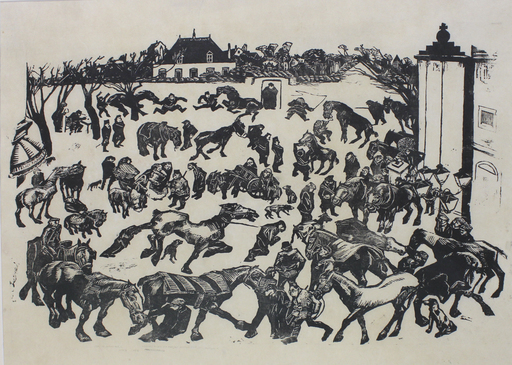Joseph Morris RAPHAEL - Druckgrafik-Multiple - Requisition of horses during WW 1 in Uccle (B)