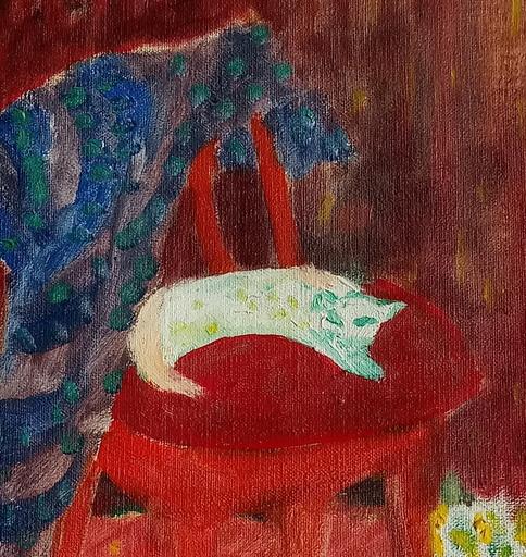 Gerhild DIESNER - Peinture - Katze auf rotem Stuhl