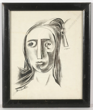 "Boris DEUTSCH - Dibujo Acuarela - ""Cubist female portrait"""
