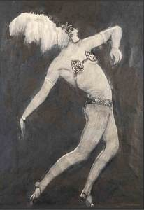Alfons WALDE - Disegno Acquarello - Seitenansicht der Tanzenden