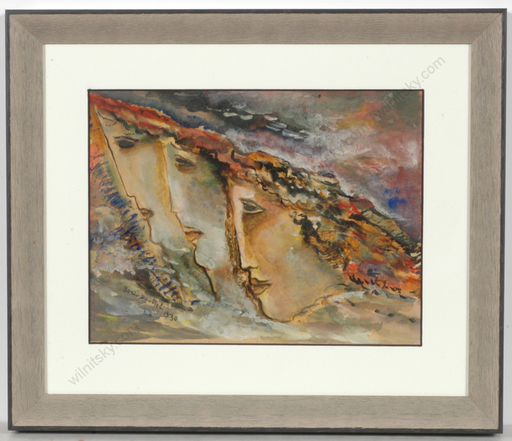 "Boris DEUTSCH - Dessin-Aquarelle - ""Three female heads"", watercolor"