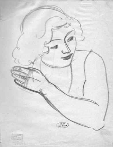 André DERAIN - Disegno Acquarello - Studie für ein Frauenportrait
