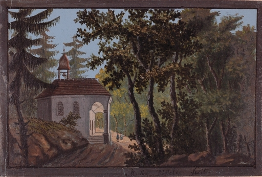"Martin DISTELI - Painting - ""Forest Chapel"", Gouache"