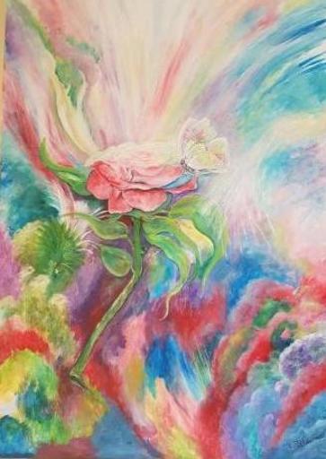 Jean-Claude LELIEVRE - Peinture - rose et papillon