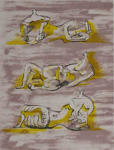 亨利•摩尔 - 版画 - Three reclining figures