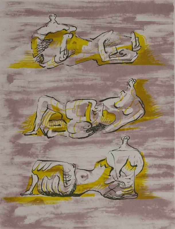 亨利•摩尔 - 版画 - Three reclining figures