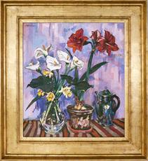 Peter August BÖCKSTIEGEL - Painting - Calla, Narzissen und Amaryllis