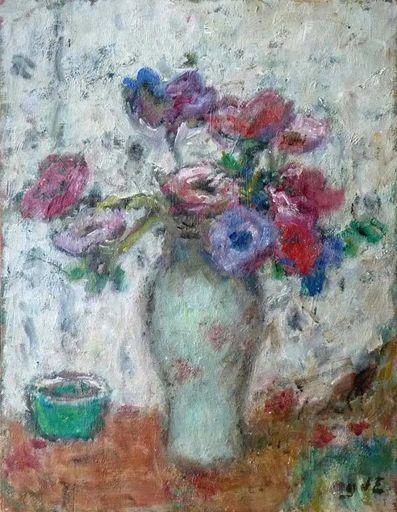 Georges D'ESPAGNAT - Pintura - Bouquet d'anémones