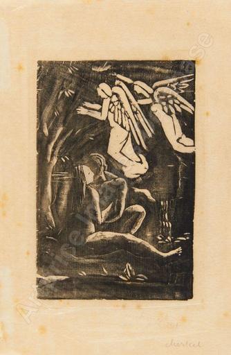 Georg MERKEL - Estampe-Multiple - Liebespaar mit zwei Engeln