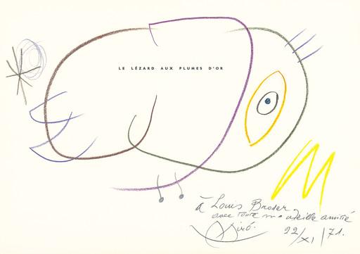 Joan MIRO - Disegno Acquarello - Le lézard aux plumes d'or