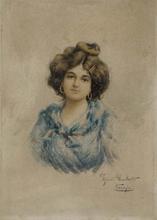 "Umberto ZINI - Dessin-Aquarelle - ""Portrait of Young Venetian"" by Umberto Zini, ca 1900"