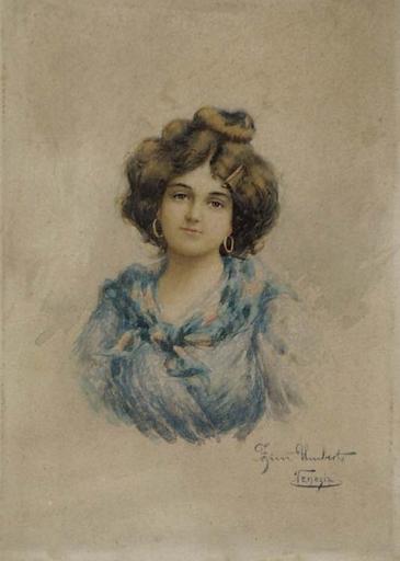 "Umberto ZINI - Disegno Acquarello - ""Portrait of Young Venetian"" by Umberto Zini, ca 1900"