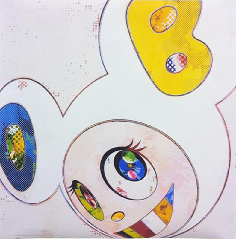 Takashi MURAKAMI - Grabado - And Then x 6 - White with Blue and Yellow ears