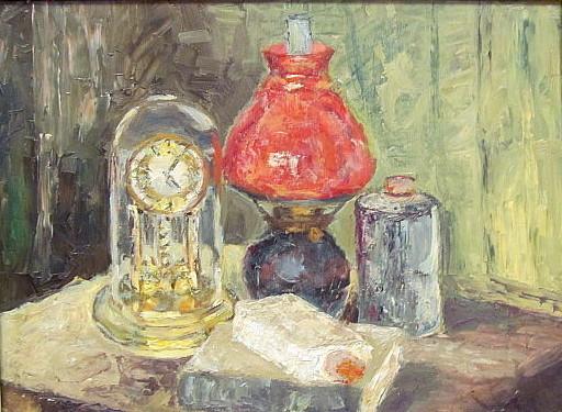 Walter BRÜGGMANN - Painting - Stilleben mit roter Lampe.