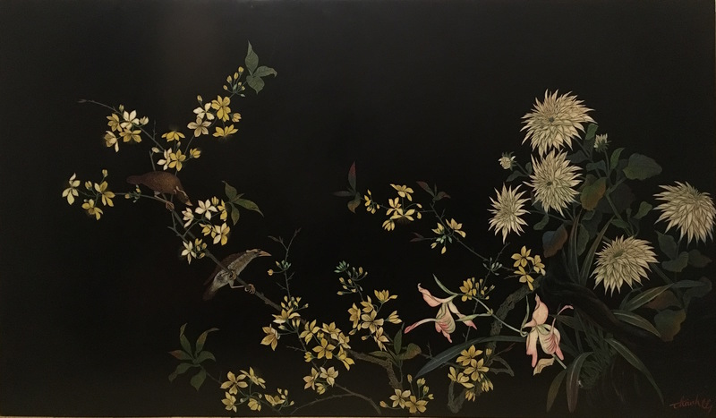 Than Le N'GUYEN - Painting - Flowers of the 4 Seasons with Mynah birds