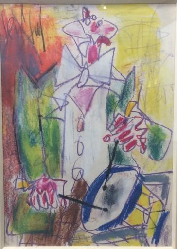 GEN PAUL - Drawing-Watercolor - Clown au tambour