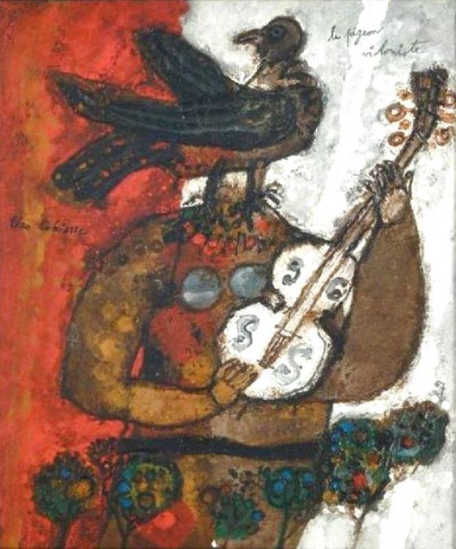 Théo TOBIASSE - Pittura - Le Pigeon Violoniste