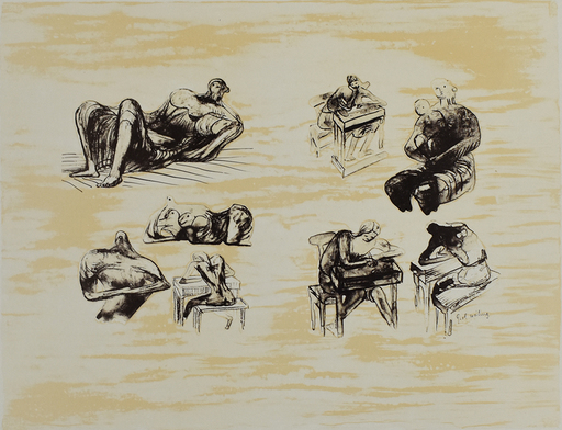 Henry MOORE - Grabado - Eight Sculptural Ideas Girl Writing