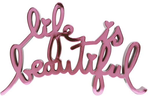 MR BRAINWASH - Escultura - Life Is Beautiful - Hard Candy Light Pink