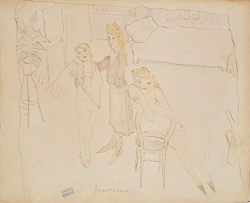 Jules PASCIN - Disegno Acquarello - Les filles