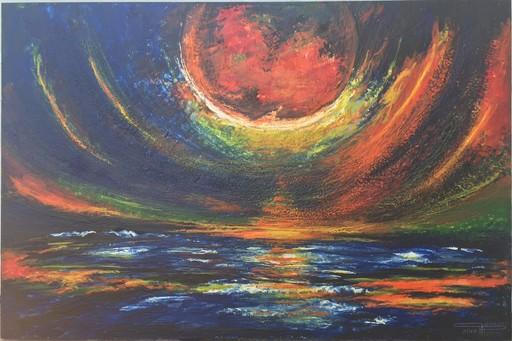 Romeo DOBROTA - Painting - The panoramic night,