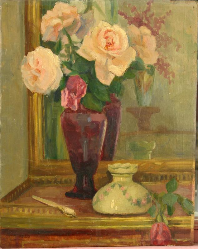 Germaine BASILIS - Painting - NATURE MORTE AU BOUQUET DE ROSES
