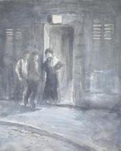 Théophile Alexandre STEINLEN - Drawing-Watercolor - Entering the Brothel