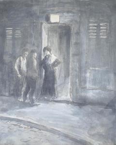 Théophile Alexandre STEINLEN - Dessin-Aquarelle - Entering the Brothel