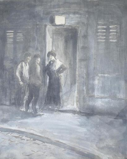 Théophile Alexandre STEINLEN - Dessin-Aquarelle - Entering the Brothel