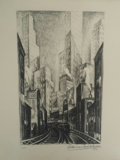 Adriaan LUBBERS - 版画 -  The El at Chatham square NEW  YORK