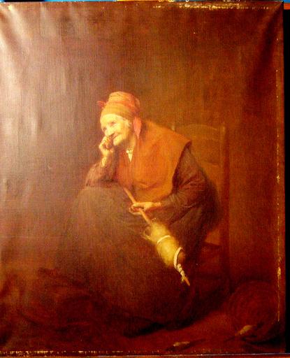 André Antoine CROCHEPIERRE - Gemälde - Vieille femme filant à la quenouille