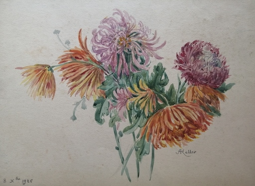 Alfred KELLER - Drawing-Watercolor - Chysanthèmes