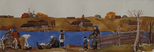 "Lev Michailovitsch KHAILOV - 水彩作品 - ""Russian Village Scene"", Watercolour by Lev Khailov"