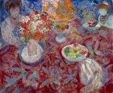 Emilio GRAU-SALA - Painting - Niñas alrededor de una mesa