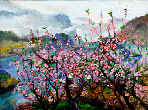 ZHENG Judy C. - Gemälde - Peach Garden Outside The World