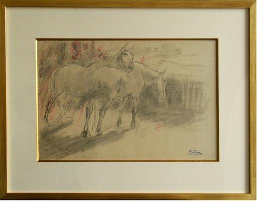 Ulpiano CHECA Y SANZ - Drawing-Watercolor - Deux chevaux au repos sur la lisière d'une forêt