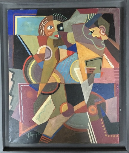 """Jozef POPCZYK - Painting - """"Rozmowa"""" deux personnages"""